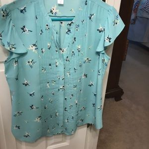 Teal blue blouse with floral print